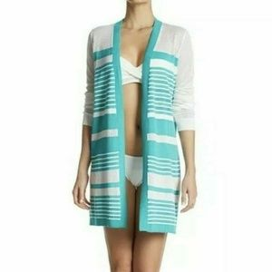 Tommy Bahama Teal White Striped Beach Cover Up XS